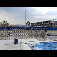 Cổng xếp tự động cổng xếp inox lắp tại bình dương- Trúng thầu Sure Green- 0913183440